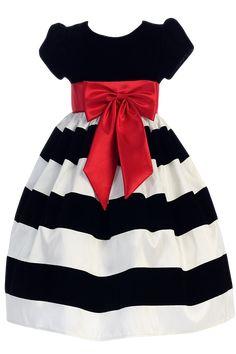 Black Velvet & White Flocked Taffeta Holiday Dress w Red Sash & Bow (Girls 3 months - Size 10)