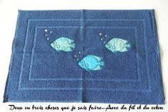 Tapis de bain avec application de poissons en appliqué, numérisation perso