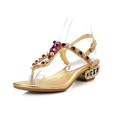 WeiPoot Women Thong Toe Low Heel Microfiber Soft Material Solid Sandals with Rhinestones Gold 65 BM US >>> Click image to review more details.(This is an Amazon affiliate link and I receive a commission for the sales)