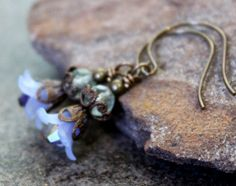Blue Floral Lucite Earrings with Rainbow Flourite by JensFancy, $22.00