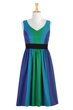 Blue-Green Dress    This dress's color blocking creates slender vertical planes that emphasize length over width. A black empire waist shrinks your waistline like a visual corset, but unlike those unpleasant contraptions, it's got elastic smocking in the back for breathing room.    $51; eShakti.com