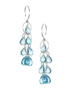 Amelia Rose Design Sterling Silver & Blue Topaz Waterfall Earrings