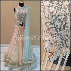 Pure and Pastel, jacket lehenga by MischB Couture Jacket Lehenga, Lehenga Style, Indian Dresses, Indian Outfits, Gown With Jacket, Desi Bride, Engagement Dresses, Indian Attire, Indian Wear
