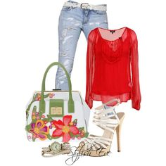 """""""Untitled #1149"""" by stylisheve on Polyvore Jeans and top I like, purse, forget it, lower heeled shoes, but yea so cute!!!"""