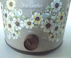 "Slow Cooker ""Le Collection Fleurs"" Made (in USA) for Kmart, by I think Van Wyck. This crock is full of Flower Power!"