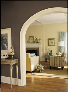 Create contrast as you move from each room in your home, like using a dark Thunder Gray (SW 7645) color in the hallway to frame the soft, neutral tones of your living room.