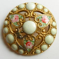 Beautiful Antique Brass Enamel Button Openwork with 3 Hearts and Pink Roses | eBay