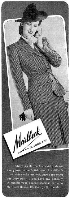 A classic, covetable skirt suit from 1943. #vintage #1940s #fashion #ad