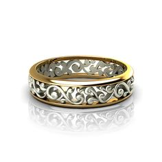 Scroll Pattern Wedding Ring - See the old world style workmanship in the designer wedding rings created by the artisans at Jewelry Designs.