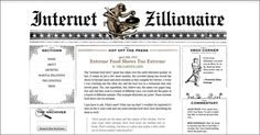 Vintage newspaper web site design: internetzillionaire.com
