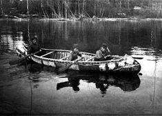 Chippewa Woman and Girls in a Birch Bark Canoe, Red Lake.