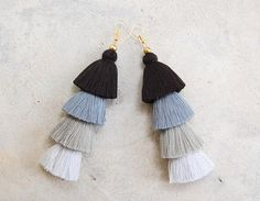 Handmade Ombre Grey Tassel Earrings