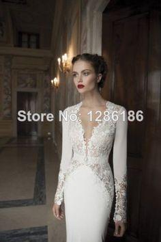 Short Sale Freeshipping Natural Floor length Mermaid V neck 2014 New Long Sleeve Backless Wedding Dresses Custom-in Wedding Dresses from App...