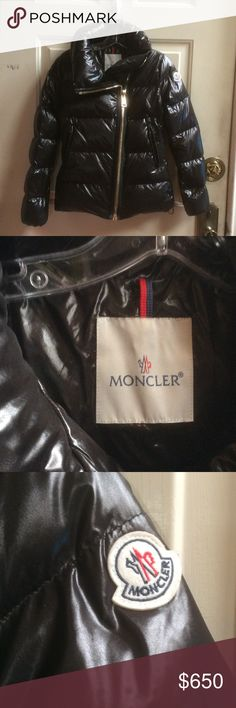 Moncler  women's black down's jacket Sz 0 Authentic, made in Romania. Two side pockets. Front zipper closure. Worn gently Moncler Jackets & Coats Puffers