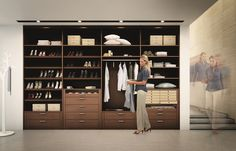 Another walk-in closet from Huelsta made from dark veneer having interior fittings that would allow you to store and organize your stuff in many ways. Cheap Furniture, Furniture Making, Furniture Design, Walk In Wardrobe, Walk In Closet, Closet Alternatives, Modern Master Bedroom, Luxury Furniture Brands, Luxury Closet