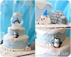 Penguins & Polar Bears Winter ONEderland {Birthday Party} - Love it all but SUPER LOVE this cake. Look at how she did that cake topper. Brilliant!!!