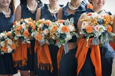 future wedding inspiration I have always wanted navy blue and orange to be my colors for my wedding, and people always look at me funny. Finally I've found a picture that makes it look AMAZING! Fall Wedding Bouquets, Fall Wedding Colors, Autumn Wedding, Bridal Bouquets, Wedding Flower Photos, Wedding Flowers, Navy Bouquet, Our Wedding, Dream Wedding
