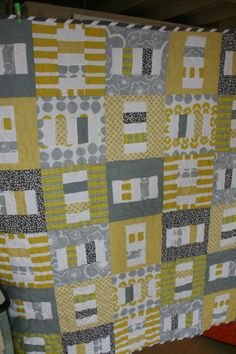 Yellow Grey Cream Quilt with Minky Cuddle 45X54 by Quiltbarnidaho, $195.00
