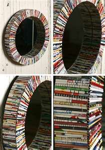 diy recycled magazine mirror