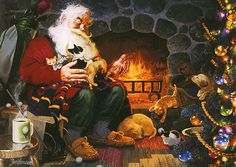 Santa relaxes with his best pals