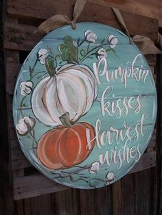 Cotton and Pumpkins fall harvest sign. Fall Wooden Door Hangers, Wooden Door Signs, Wooden Doors, Fall Pumpkins, Wooden Pumpkins, Painted Pumpkins, Pumpkin Door Hanger, Fall Projects, Wood Cutouts