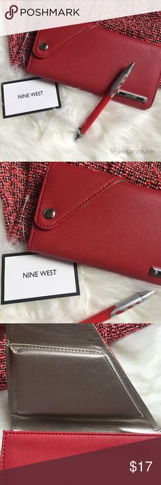 NINE WEST Wallet Nine west Wallet : Side snap, sturdy, several compartments (shown in pics).  NEW, NEVER USED.  Color : Red Bags Wallets