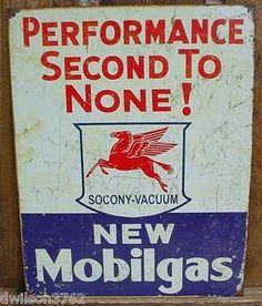 Vintage Gas Station Signs   VINTAGE MOBILGAS MOBIL GAS STATION PUMP CAR GARAGE MECHANIC SHOP TIN ...