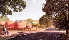 Eight domed structures built from rammed earth will distinguish the Thabo Mbeki Presidential Library that architecture studio Adjaye Associates is developing in Johannesburg, South Africa. Earth Dome, Rammed Earth Wall, Presidential Libraries, Exhibition Space, African History, How To Level Ground, Continents, The Locals, South Africa