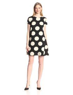 Short-Sleeve Polka Dot Trapeze Dress by Donna Morgan