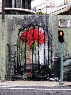 "_ ""restrained liberty"" graffiti art by bordalo II - portugal _"