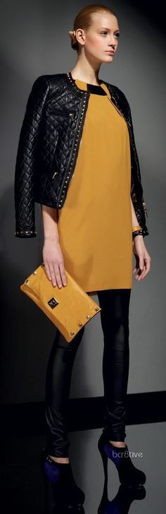 mustard/black.  Love the black quilted leather jacket!