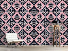 Design #Tapete Folkloria Rose Oriental, Quilts, Blanket, Rose, Bed, Design, Self Adhesive Wallpaper, Wall Papers, Pink