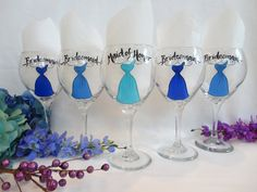 Hand Painted Bridal Party Red Wine Glasses  by SAM Designs - www.samdesigns.net, $20.00