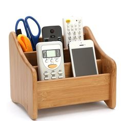 Polkar Handmade Natural Craft Desk Storage Box Remote Control Desktop Organizer (A-19cm) -- Awesome products selected by Anna Churchill