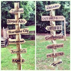 In love with how this fictional places signpost for the kids in our backyard turned out. by booturtle, via Flickr  Covering all my kids' favorite fandoms: Thor, Percy Jackson, Harry Potter, Doctor Who, Lego Friends, My Little Pony, Star Wars, The Hobbit, Frozen, Bionicle, Hunger Games, Minecraft.