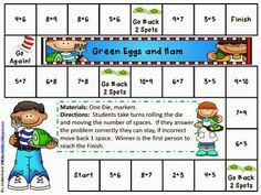 Dr. Seuss activities:  FREE Dr. Seuss Math Game. (Two boards: addition to 10 & addition to 20).