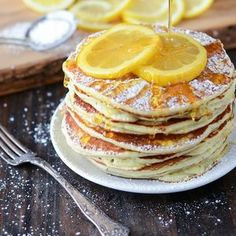 Lemon Ricotta pancakes. Hope they're as good as SaraBeth's in Key West!