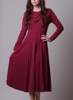 90s Dress - Maroon Long Sleeved Dress - Vintage T Shirt Dres,  Dress, vintage long red dress 80s, Bohemian (Boho) / Hippie Modified hippy