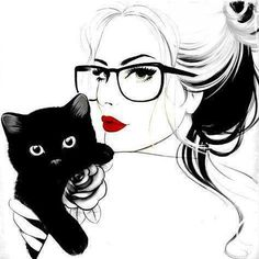 black cat drawing | art, black, cat, drawing, white - inspiring picture on Favim.com