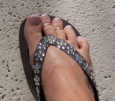 Brown Havaianas Daisy Pattern done in Swarovski Crystals by ShadesOfBling, $95.00