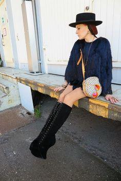 "Hat: Vintage ""Dress"": H&M Spring collection 2014 Bag: Louis Vuitton Boots: Jeffrey Campbell Earrings: Vivienne Westwood Necklace: Vivienne Westwood Rings: Ottoman Hands Bracelets: Hermes & vintage Sunglasses: Ray-Ban"