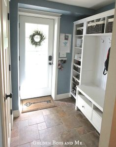 Mudroom {repurposed Ikea Hemnes bookshelves} The paint color is Labrador Blue by Benjamin Moore.- Love the use of Ikea. Refurbished Furniture, Diy Furniture, Repurposed Furniture, Painted Furniture, Basement Furniture, Children Furniture, Furniture Buyers, Furniture Websites, Furniture Removal