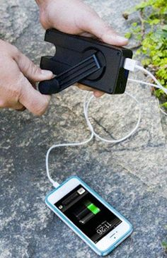 The Crankerator is a a tiny brick of transportable energy that allows your dad to charge his phone or laptop during long trips outdoors.