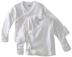 awesome for nighttime--makes for easy diaper changes, fits newborns, easy to put on in the early days when your afraid of breaking your baby.  Amazon.com: Gerber Unisex-Baby Newborn 2 Pack Long Sleeve Side Snap Mitten Cuffs Shirt, White, 0-3 Months: Clothing