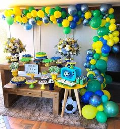 Baseball Party, Soccer Party, Balloon Arch, Balloons, Birthday Party Themes, Boy Birthday, Party Fiesta, Candy Buffet, Party Time