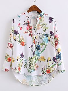 Buy Floral Print High Low Blouse With Pocket from abaday.com, FREE shipping Worldwide - Fashion Clothing, Latest Street Fashion At Abaday.com