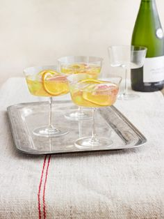 Bring out the bubbly! This classic drink features St-Germain-soaked winter fruit and prosecco. #oscars #party