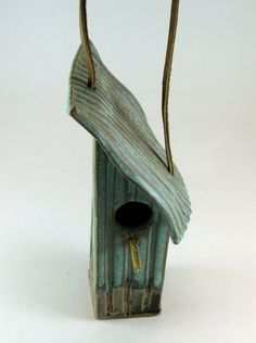 Ceramic Bird House - Tin Pan Alley Pattern In Weathered Bronze - 862