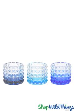 This antique cut Blue Glass Votive Candle Holder Set is so attractive with its distinct graphic cut and the fact that these 3 holders can also be used as vases makes this set an unbeatable deal!  You w