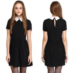 7bdfe7a036 New European Style Lady Women s Short Sleeve Doll Collar Chiffon Dress  European Style